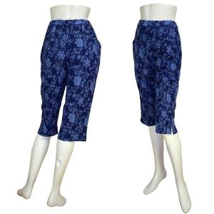 インド製 花柄 膝丈パンツ 紺 レディース FU-F-PAN43 mahanadi
