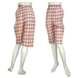 インド製べーシック膝丈パンツ チェック レディース|mahanadi