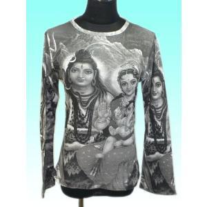 インドのレディース神様Tシャツ シバ・ファミリー(長袖) (M) FU-F-TS20|mahanadi