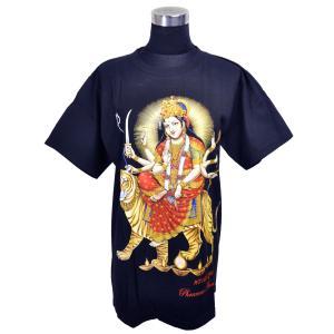 ヒンドゥー神様Tシャツ ドゥルガー レディースL 半袖 黒 タイ製 エスニック アジアン FU-F-TS20619-13|mahanadi