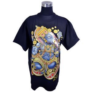 ヒンドゥー神様Tシャツ ガネーシャ レディースL 半袖 黒 タイ製 エスニック アジアン FU-F-TS20619-14|mahanadi