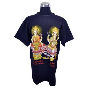 ヒンドゥー神様Tシャツ ガネーシャとラクシュミー レディースL 半袖 黒 タイ製 エスニック アジアン FU-F-TS20619-15|mahanadi