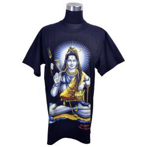 ヒンドゥー神様Tシャツ シバ神 レディースL 半袖 黒 タイ製 エスニック アジアン FU-F-TS20619-16|mahanadi