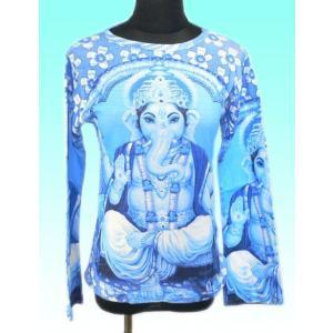 インドの神様Tシャツ ガネーシャ(長袖) ヒンドゥー アジアン エスニック雑貨 FU-F-TS29|mahanadi