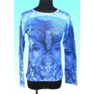 インドの神様Tシャツ シバ・ファミリー(長袖) ヒンドゥー アジアン エスニック雑貨 FU-F-TS30|mahanadi