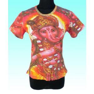 インドのレディース神様Tシャツ ガネーシャ (M)  ヒンドゥー アジアン エスニック雑貨 FU-F-TS41|mahanadi