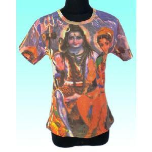 インドのレディース神様Tシャツ シバ・ファミリー (M)  ヒンドゥー アジアン エスニック雑貨 FU-F-TS42|mahanadi
