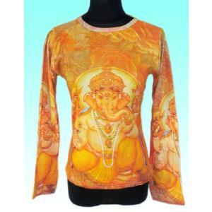 インドの神様Tシャツ ガネーシャ(長袖) ヒンドゥー アジアン エスニック雑貨 FU-F-TS43|mahanadi