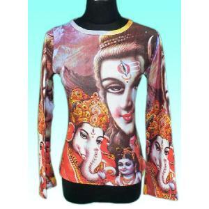 インドの神様Tシャツ シバファミリー(長袖) FU-F-TS44|mahanadi