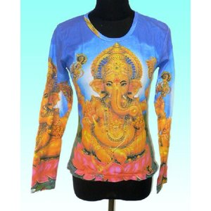 ヒンドゥー神様Tシャツ レディース ガネーシャ(長袖) アジアン エスニック雑貨 (S & M)|mahanadi