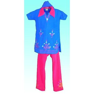 (110サイズ) 女児用インドの民族衣装パンジャビドレス FU-KD-TRA11|mahanadi