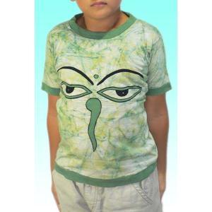(120サイズ) 子供用インドのTシャツ・仏陀の目のバティック FU-KD-TS3|mahanadi
