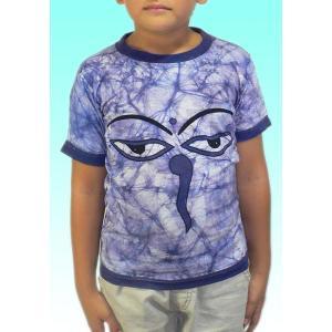 (120サイズ) 子供用インドのTシャツ・仏陀の目のバティック FU-KD-TS4|mahanadi