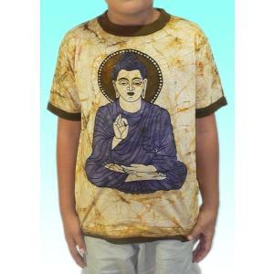 (140サイズ) 子供用インドのTシャツ・仏陀 FU-KD-TS5|mahanadi