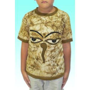 (140サイズ) 子供用インドのTシャツ・仏陀の目のバティック FU-KD-TS9|mahanadi