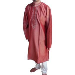 インドの男性用民族衣装クルターパジャマ (L) ちょっと豪華版 ブラウン スタンドカラー FU-KR100 mahanadi