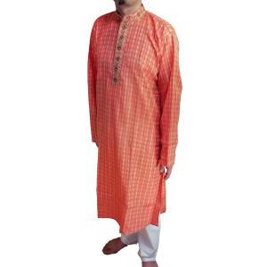 インドの男性用民族衣装クルターパジャマ (XL) ちょっと豪華版 橙色 スタンドカラー FU-KR101 mahanadi