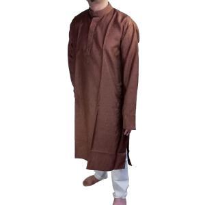 インドの男性用民族衣装クルターパジャマ (XL) ちょっと豪華版 ブラウン スタンドカラー FU-KR102 mahanadi