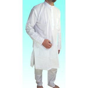 インドの男性用民族衣装クルターパジャマ 一番人気の純白 スタンドカラー|mahanadi