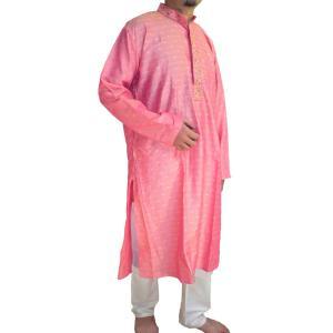 インドの男性用民族衣装クルターパジャマ (XL)ちょっと豪華版 スタンドカラー|mahanadi