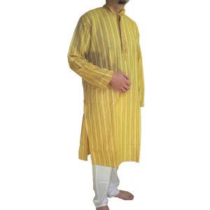 インドの男性用民族衣装クルターパジャマ (M)ちょっと豪華版 スタンドカラー|mahanadi