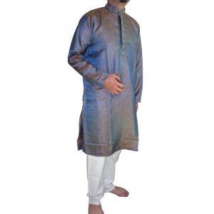 インドの男性用民族衣装クルターパジャマ (M)豪華版全面ペイズリー スタンドカラー|mahanadi