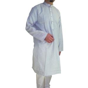 インドの男性用民族衣装クルターパジャマ (M) スタンドカラー|mahanadi