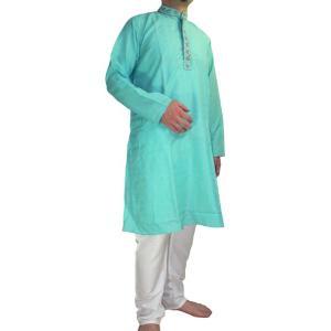 インドの男性用民族衣装クルターパジャマ 水色 (M) スタンドカラー|mahanadi