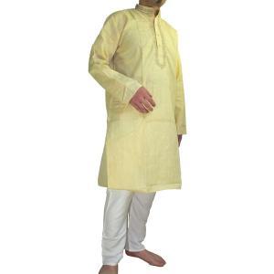 インドの男性用民族衣装クルターパジャマ ベージュ (M) スタンドカラー|mahanadi
