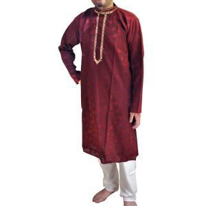 インドの男性用民族衣装クルターパジャマ (L) ちょっと豪華版 スタンドカラー FU-KR95 mahanadi