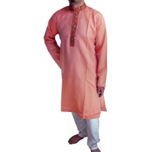 インドの男性用民族衣装クルターパジャマ (M) ちょっと豪華版 スタンドカラー FU-KR96 mahanadi
