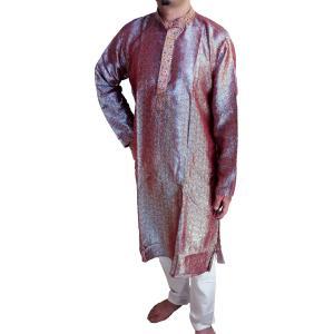 インドの男性用民族衣装クルターパジャマ (L) ちょっと豪華版 ペイズリー 綺羅びやかなエンジ スタンドカラー FU-KR97 mahanadi