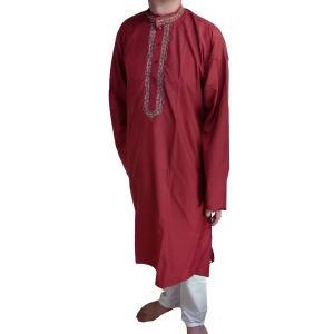 インドの男性用民族衣装クルターパジャマ (L) ちょっと豪華版 エンジ スタンドカラー FU-KR98 mahanadi