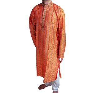 インドの男性用民族衣装クルターパジャマ (XL) ちょっと豪華版 オレンジ スタンドカラー FU-KR99 mahanadi