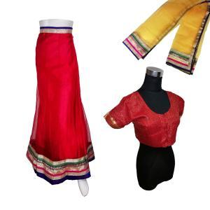 インドの民族衣装レヘンガ(ランガ) 三点セット パーティー向けの豪華な衣装 レディース アジアン エスニック FU-LHG4|mahanadi