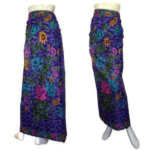 インドネシア製サロン アジアの腰巻民族衣装 プリント 花柄 紫 ロンジー ルンギー エスニック アジアン FU-LNG20524-3|mahanadi