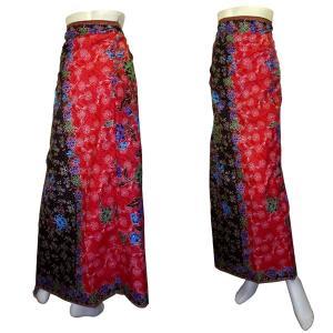 インドネシア製サロン アジアの腰巻民族衣装 プリント 花柄 赤黒 ロンジー ルンギー エスニック アジアン FU-LNG20524-5|mahanadi