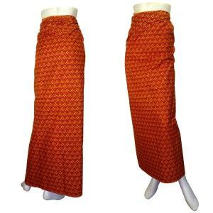 インドネシア製サロン アジアの腰巻民族衣装 プリント 幾何学 赤茶 ロンジー ルンギー エスニック アジアン FU-LNG20524-6|mahanadi