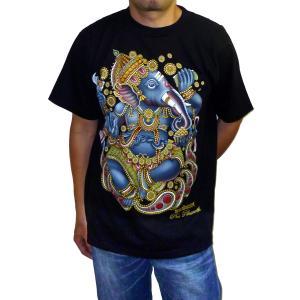 ヒンドゥー神様Tシャツ ガネーシャ メンズL 半袖 黒 タイ製 エスニック アジアン FU-M-TS20619-10|mahanadi