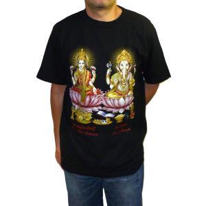 ヒンドゥー神様Tシャツ ガネーシャとラクシュミー メンズL&XL 半袖 黒 タイ製 エスニック アジアン FU-M-TS20619-11|mahanadi