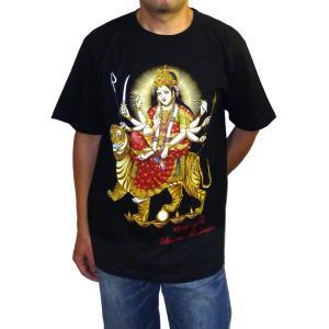 ヒンドゥー神様Tシャツ ドゥルガー メンズL&XL 半袖 黒 タイ製 エスニック アジアン FU-M-TS20619-12|mahanadi