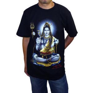 ヒンドゥー神様Tシャツ シバ神 メンズL&XL 半袖 黒 タイ製 エスニック アジアン FU-M-TS20619-8|mahanadi