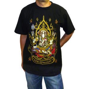 ヒンドゥー神様Tシャツ ガネーシャ メンズL&XL 半袖 黒 タイ製 エスニック アジアン FU-M-TS20619-9|mahanadi