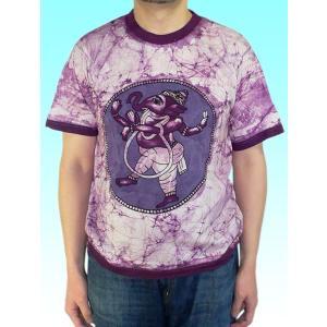 インドの神様Tシャツ バティックのガネーシャ FU-M-TS41|mahanadi