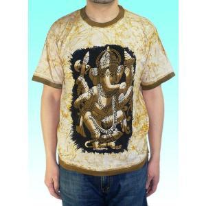 インドの神様Tシャツ バティックのガネーシャ FU-M-TS45|mahanadi