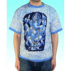 インドの神様Tシャツ バティックのガネーシャ FU-M-TS46|mahanadi