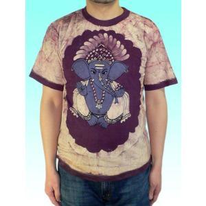 インドの神様Tシャツ バティックのガネーシャ FU-M-TS47|mahanadi