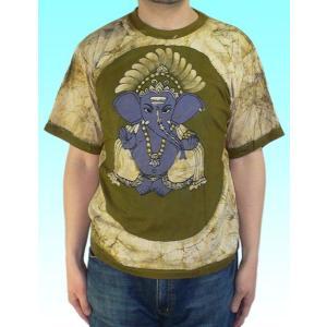 インドの神様Tシャツ バティックのガネーシャ FU-M-TS49|mahanadi
