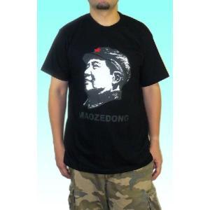 毛沢東のメンズTシャツ 黒タイプ1 中国共産党 文化大革命|mahanadi