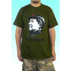 毛沢東のメンズTシャツ アーミーグリーン タイプ1 中国共産党 文化大革命|mahanadi